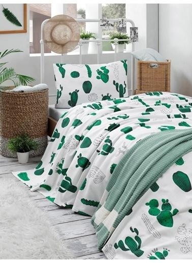 Eponj Home Doğal Pike Baskılı Tek Kişilik Kaktüs Yeşil Yeşil